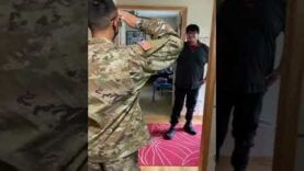 Soldier surprises friend