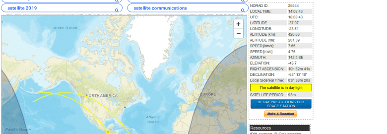 Live Realtime SatelliteTracking and Predictions
