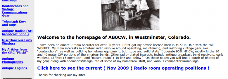 AB0CW's Amateur and Antique Radio Page