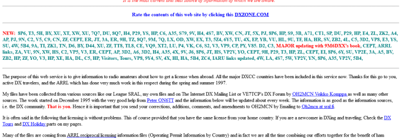 Worldwide Information on Licensing for Radio Amateurs
